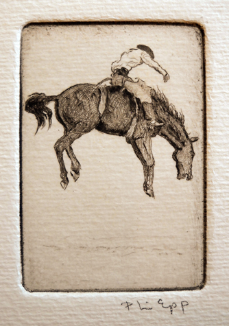 Bucking Horse 1  2.75x2  etching  $90 uf,  $145 fr