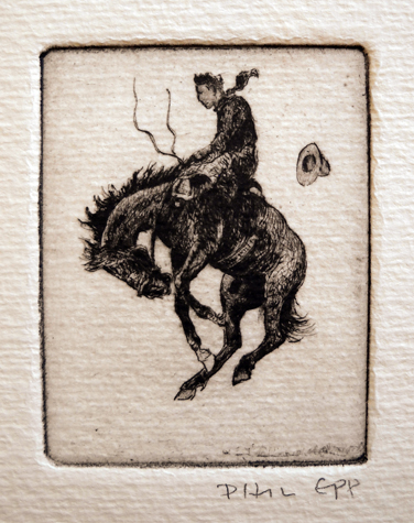 Bucking Horse 3   2.5x2  etching  $90 uf,  $145 fr