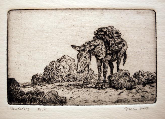 Burro 2.75x4.25 etching $125 uf