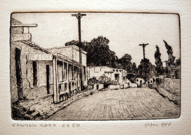 Canyon Road  3x4.5  etching  $125 uf