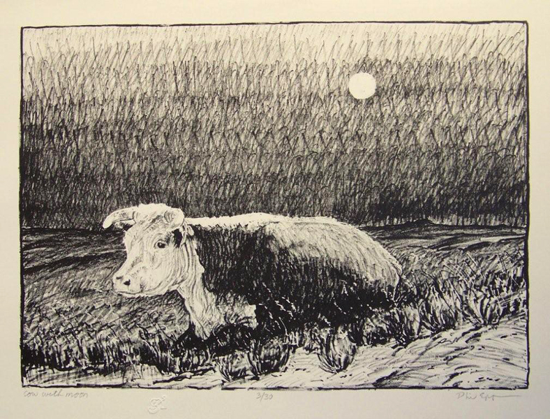 Cow with Moon  10x14  lithograph  $350  fr
