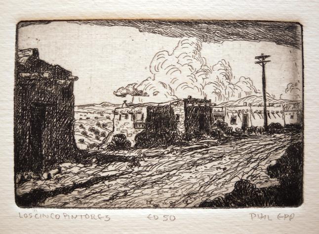 Los Cincos Pintores 3x4.5 etching $125 uf