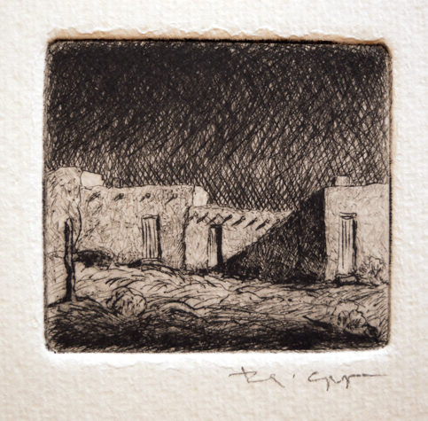 Pueblo Night  2x2  etching  $90 uf