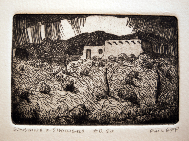 Sunshine Showers  2.75x4.25  etching  $125 uf