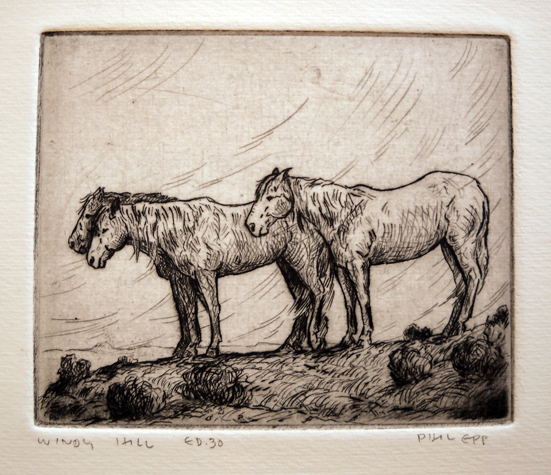 Windy Hill  4x4.75  etching  $135 uf, $200 fr