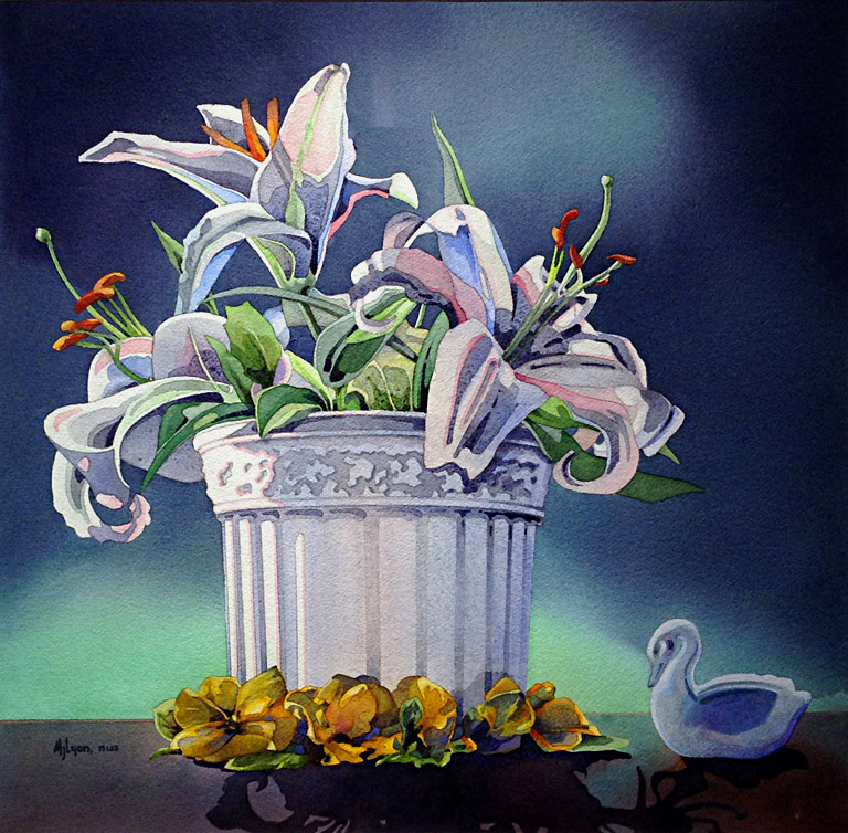 Lilies and Swan  22x22  wc  $820 fr