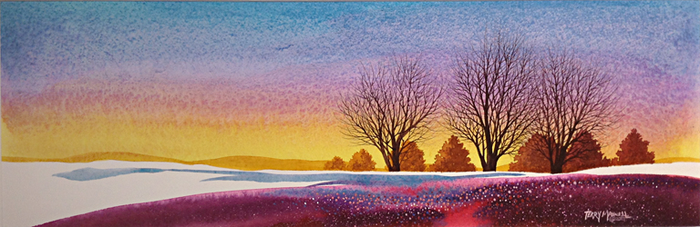 Silhouettes at Sunset  12x26  wc  $500 fr