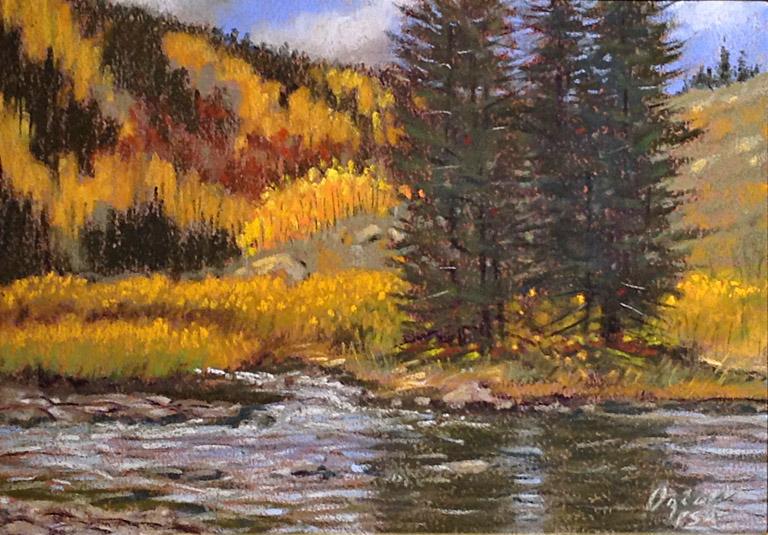 Autumn White Water 9x12 pastel $425 fr