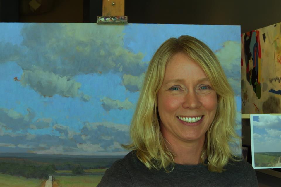 Kim Casebeer pictured at a painting demonstration, which was held at the Strecker-Nelson Gallery.
