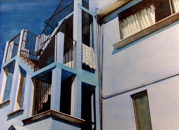 The Blue House, Metepec 10x14 wc $475