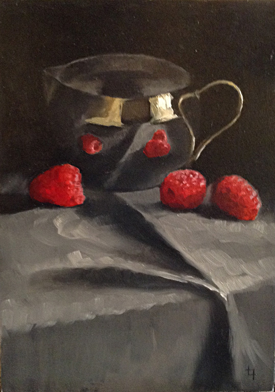 Silver Pitcher with Raspberries 7x5 op $300 SOLD