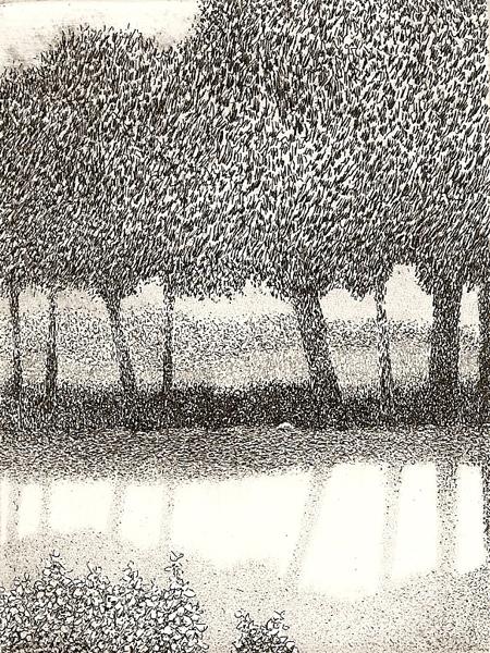 8 x 2  intaglio etching 4x3 $125(uf) $200(fr)