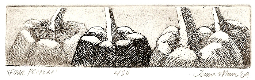 Four Peppers   1x4  intaglio etching  $50 (uf)  $150 (fr)
