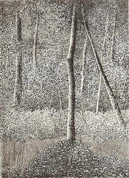 Leaning intaglio etching  3.5x2.5  $125(uf) $200(fr)