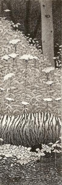 Tyger intaglio etching  7.25x2.5  $125(uf) $200(fr)