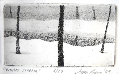 Winter Stream   1.5x2.75  intaglio etching  $50 (uf)  $150 (fr)