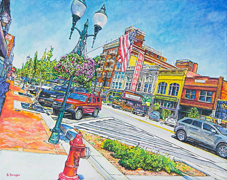 Becky Drager  All Poyntz to Downtown  16x20  ac  $800 The Strecker-Nelson Gallery is the oldest commercial art gallery in Kansas. It is located on the main street, Poyntz Avenue, There is more than 5000 sq ft for display and approximately 150 artists are represented in all media.