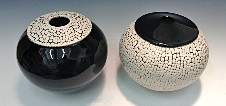 Black and White Crawl Vase  5x6.5x6.5  ceramic  $75 ea.