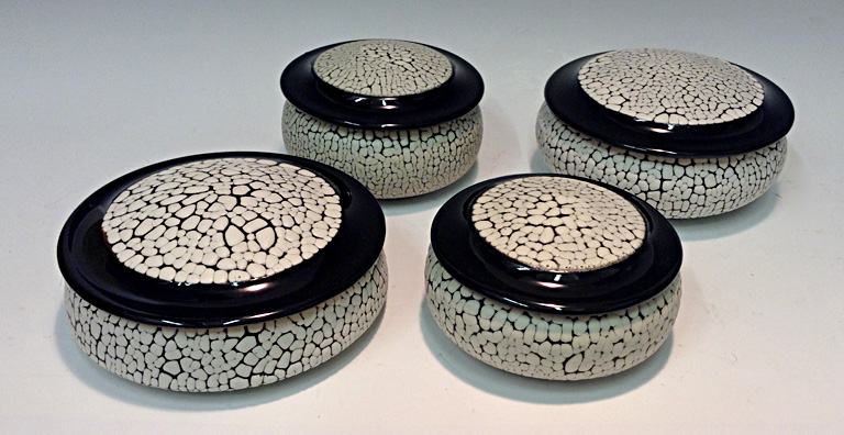 White Crawl Glaze Round Box- small/medium  3x4x4/3x5x5  ceramic $40/$45