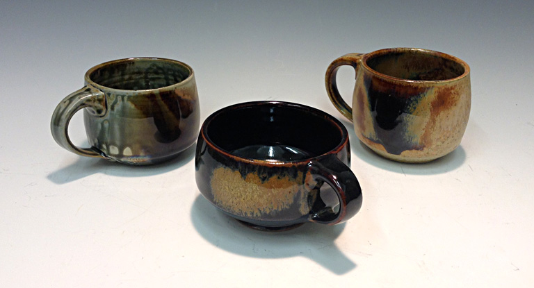 Brown Ash Mugs  4x5x5  ceramic  $25 ea.