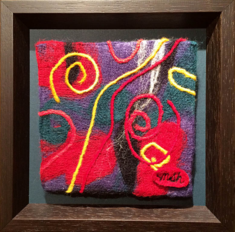 Dreams in Color Series #8 - Steam  6x6  needle felted wool  $95 fr
