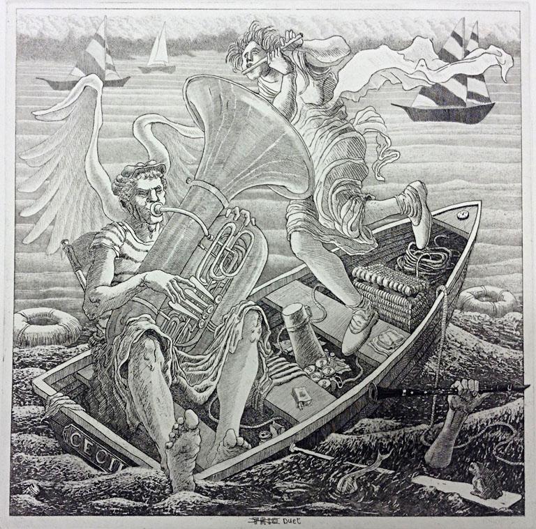 St. Cecelia in Ecstasy - Duet 12.5x12.5 etching $200 uf