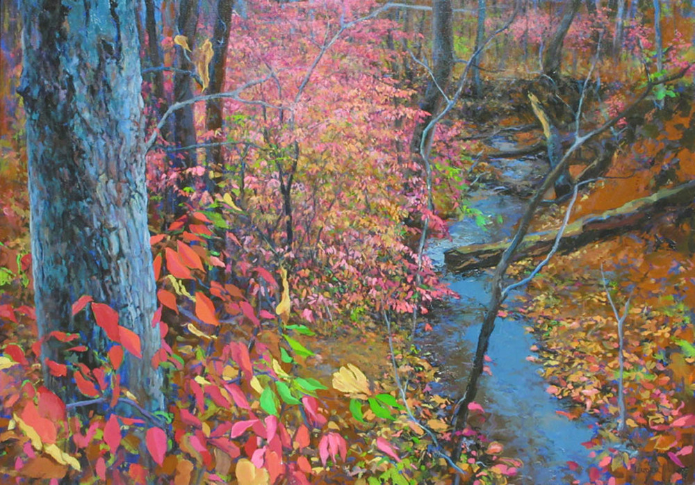 Cave Hollow Creek, Burning Bush  28x40  oc  $2,800