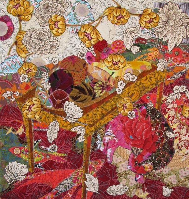 Cat Nap: Flower Dreams 45x45 textiles $3,800