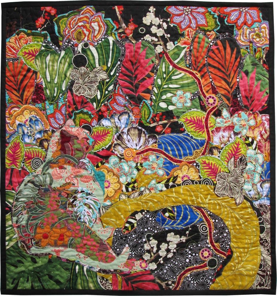 Cat Nap: Secret Garden 45x45 textiles $3,800