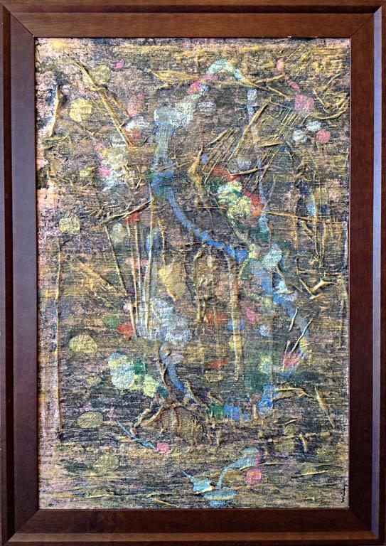 Korea Garden 23.5x35.5 acrylic on Indian silk $1,200 fr