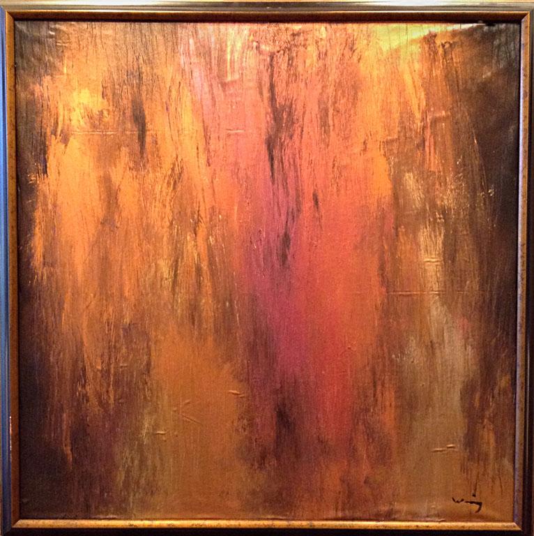 Prairie Fire, Kansas 35.5x35.5 acrylic on silk $1,200 fr