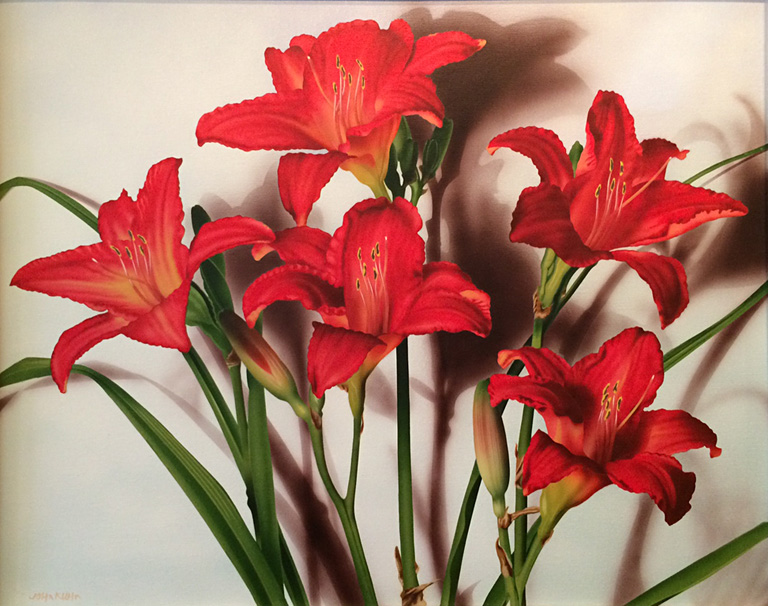 Red Day Lillies  32x40  ac  $4,500 fr**