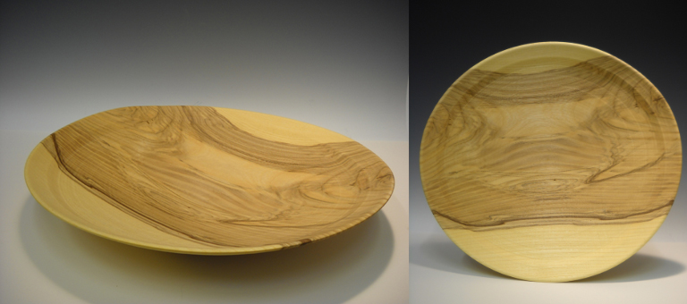 18 in. Spalted Hackleberry Platter, natural  turned wood  SOLD