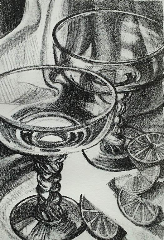 Margarita Glasses 8x5 lithograph $125 fr