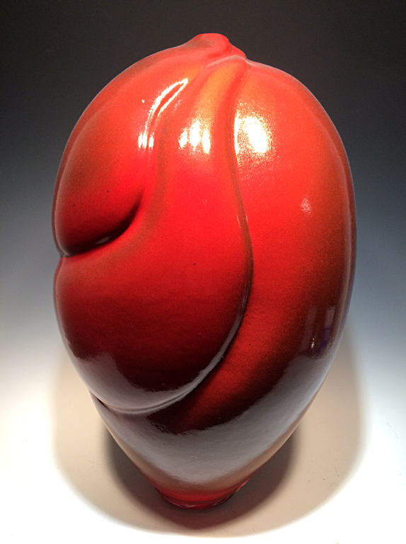 Red Textured Swirl Vase  17x15x15  ceramic  $650