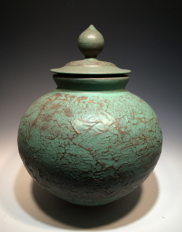 Textured Green Covered Jar  17x10x10  ceramic  $350