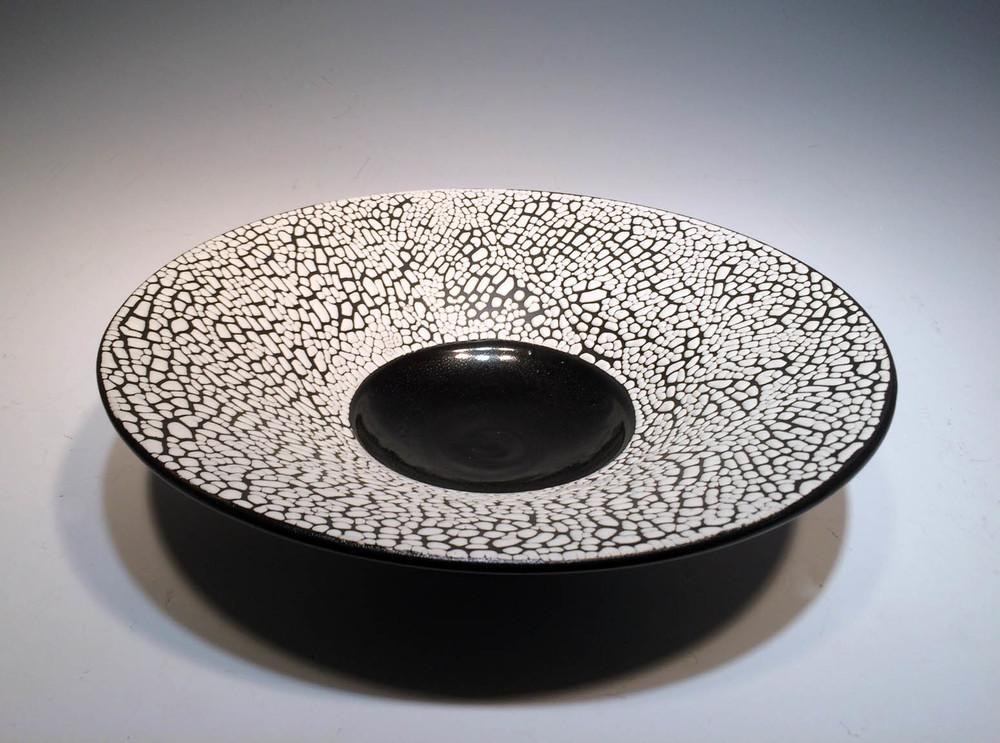Black and White Crawl Bowl  3.5x12.5x12.5  ceramic  $70