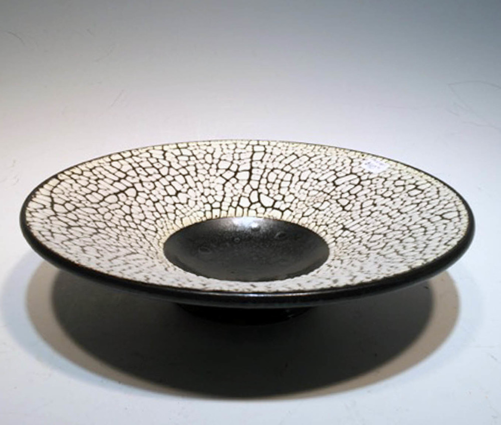 Black and White Crawl Bowl-- small  3x6x6 ceramic  $40