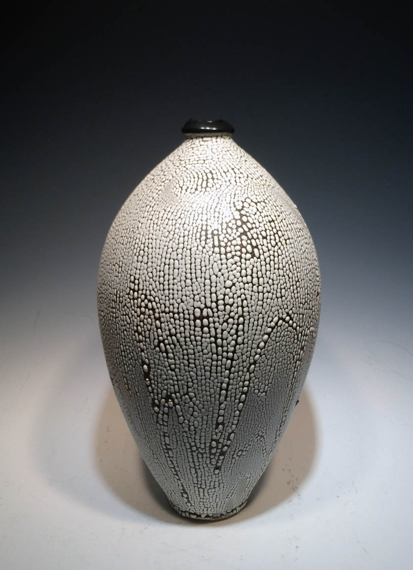 Black and White Crawl Bubble Vase  15x6.5x6.5  ceramic  $160