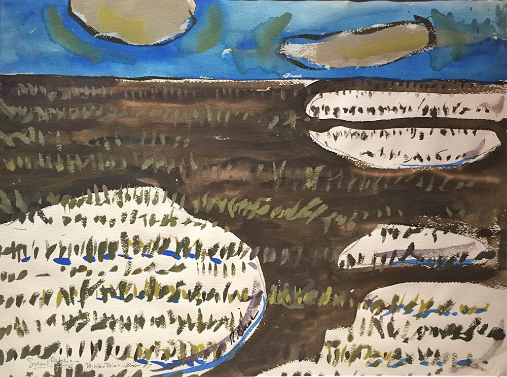 Snow Patches - Minden Mines, MO  17.5x23.5  gouache on paper  $1,440 uf