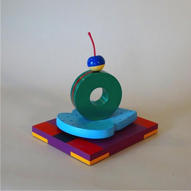 Cake 9.5x9x7.5 polychrome wood, steel $700