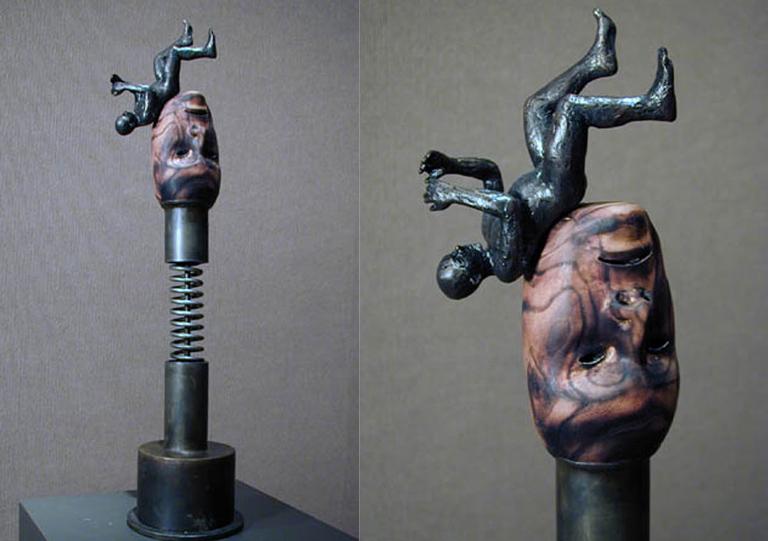 Shocked 22.5x5.25x5.25 bronze, steel, wood $2,000