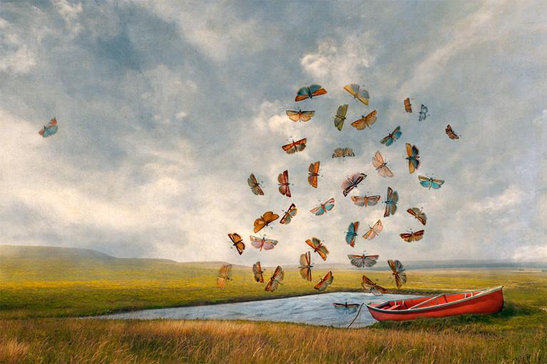 Red Canoe 19x12 photo print $420 uf, $575 fr