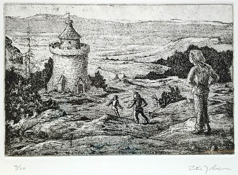 Finding the Tower  6x9  etching  $225 fr