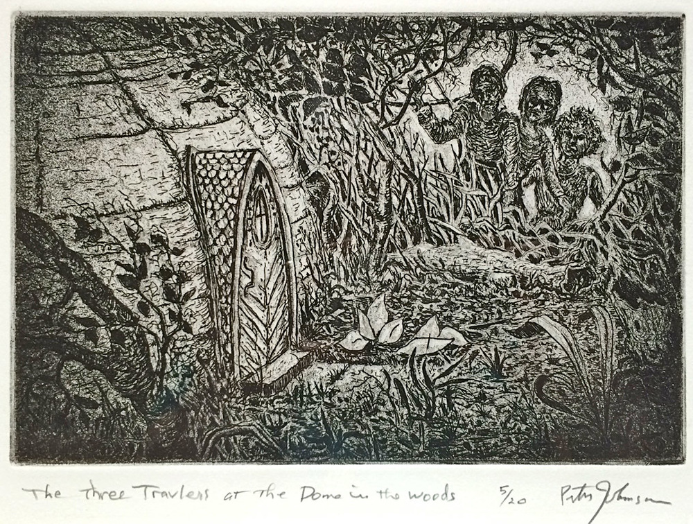 The Three Travelers at the Dome in the Woods  6x9  engraving  $225 fr