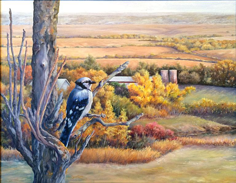Autumn Blues (Blue Jay) 22x28 oc $950 fr*