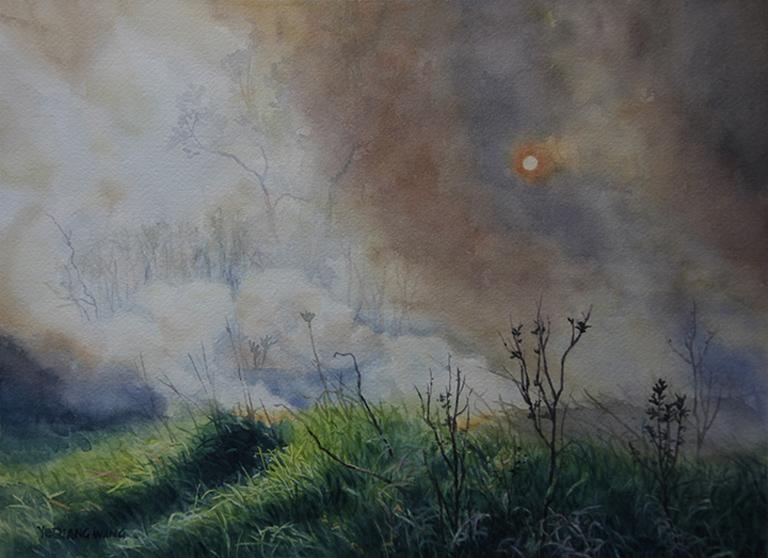 Shining Through the Smoke 11x15 wc $450 fr