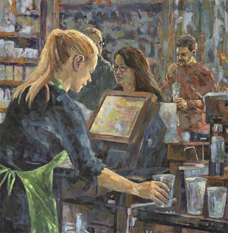 Morning Coffee Stop 24x24 oc $1,575
