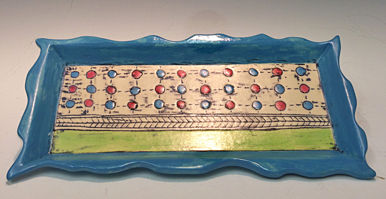Dots and Dashes Tray  1x5x10  ceramic  $85