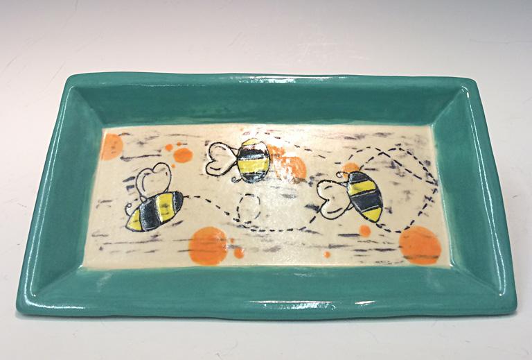 Save the Honeybees 1x5x6 ceramic $85
